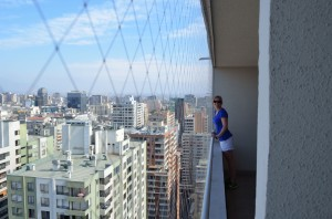 Top floor of our apartment in Santiago - looking over the city