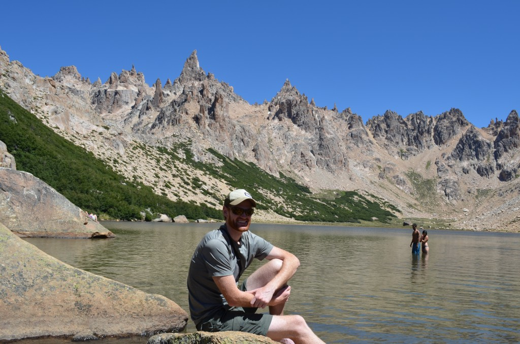 Great reward at the top of this hot hike - chilling by the lake