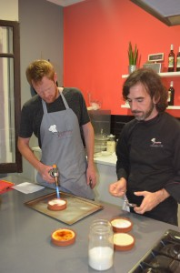 Arlen careful torching our desserts - Crema Catalan (Spanish version of a creme brulee)